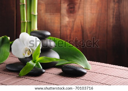 spa concept zen basalt stones and  orchid - stock photo