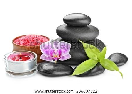 spa concept zen basalt stones and salt isolated on white - stock photo