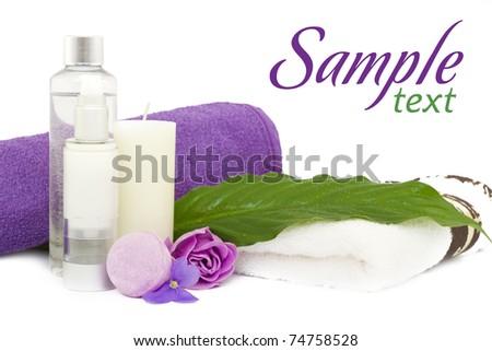 Spa cosmetics, beauty, cream, soap and relax - stock photo