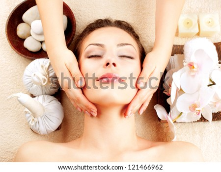 Spa Face Massage. Facial Treatment. Spa Salon. Therapy - stock photo