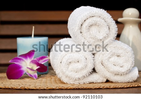 Spa, face towel and flower, candle