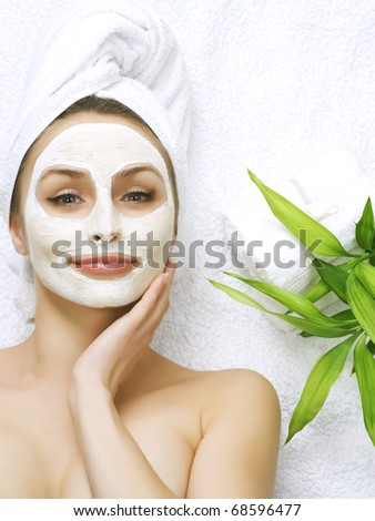 Spa Facial Mask.Dayspa concept - stock photo