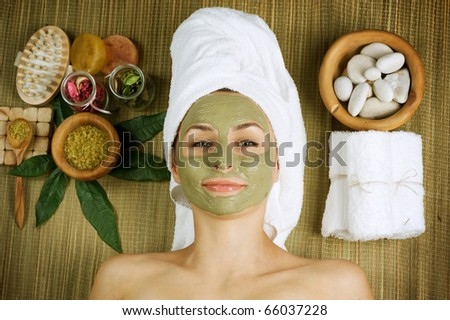 Spa Facial Mud Mask.Dayspa - stock photo