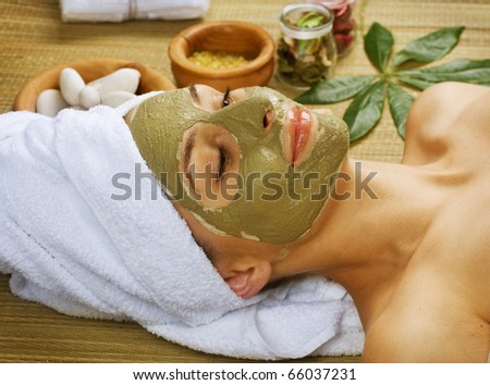 Spa Facial Mud Mask.Dayspa - stock photo