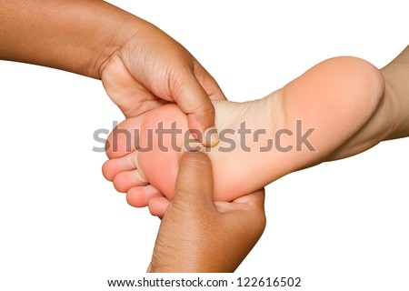 spa foot massage,reflexology foot massage - stock photo