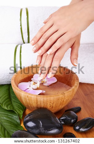 Spa for hands with flowers