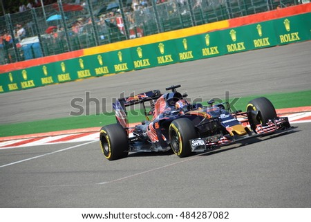 SPA-FRANCORCHAMPS, BELGIUM - AUGUST 28: Russian racing driver Daniil Kvyat (Toro Rosso) during the Belgian Formula 1 Grand Prix at Spa-Francorchamps on August 28, 2016 in Spa-Francorchamps, Belgium.