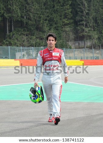 SPA-FRANCORCHAMPS, BELGIUM - MAY 2: Brazilian race car driver Lucas di Grassi (Audi) during round 2 of the FIA World Endurance Championship on May 2, 2013 in Spa-Francorchamps, Belgium.
