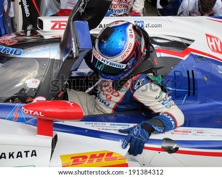 SPA-FRANCORCHAMPS, BELGIUM - MAY 1: French race car driver Stephane Sarrazin (Toyota TS 040 hybrid) during round 2 of the FIA World Endurance Championship on May 1, 2014 in Spa-Francorchamps, Belgium. - stock photo