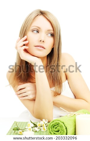 Spa girl, young woman with blond hair - stock photo