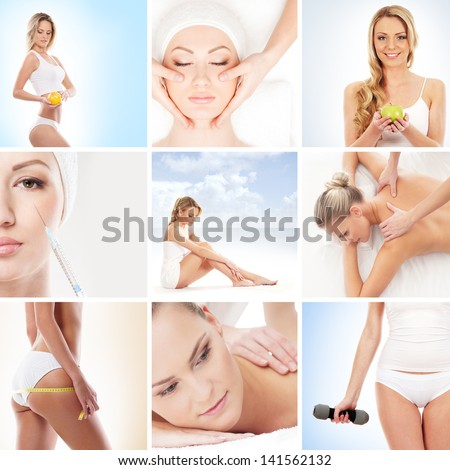 Spa, health, sport and nutrition collage - stock photo