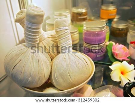 Spa herbal compressing balls - stock photo