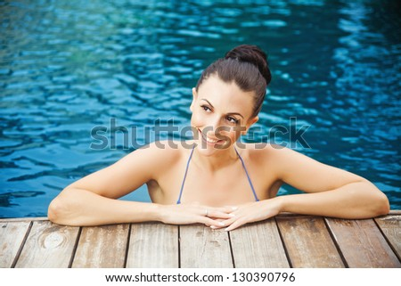 spa in pool, woman - stock photo