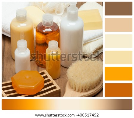 Spa Kit. Shampoo, Soap Bar And Liquid. Shower Gel. Towels. Palette With Complimentary Colour Swatches - stock photo