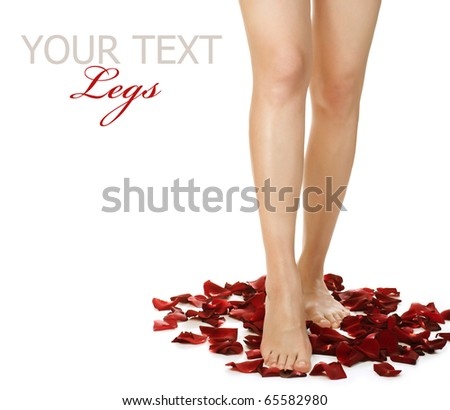 Spa Legs and Rose Petals.Isolated on white - stock photo