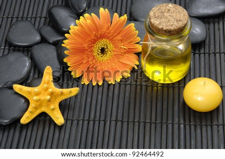 Spa life setting(gerbera and stones, Massage oil ,starfish, candle) - stock photo
