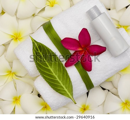 spa objecs with flowers towels on natural texture - stock photo