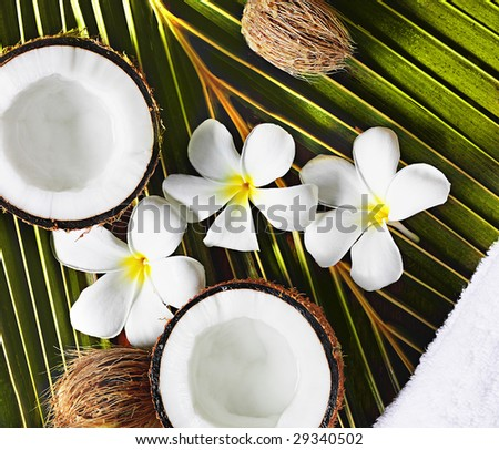 spa objects coconuts flowers towel on palm leaf - stock photo