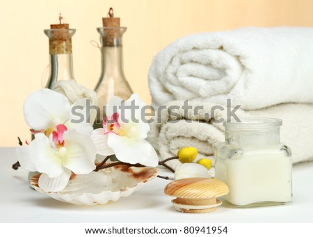 SPA objects on a desk over white background - stock photo