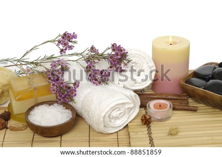 Spa objects on straw bamboo mat