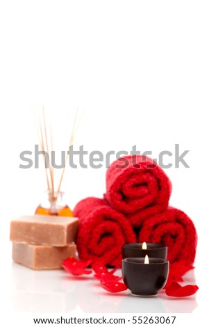 Spa or bath objects on white background
