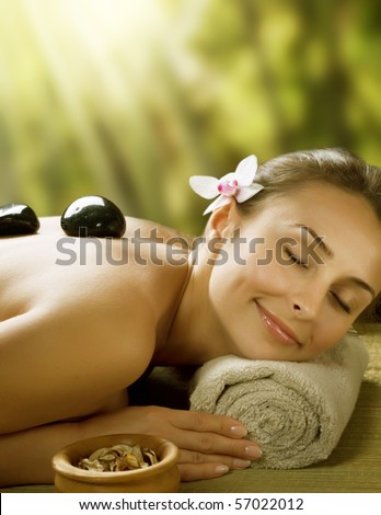 Spa outdoor.Stone Massage - stock photo