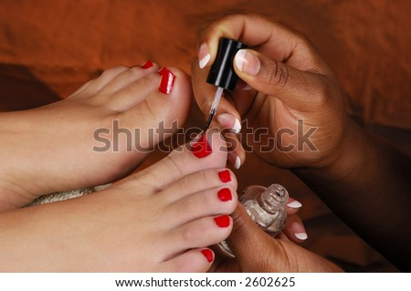 Spa Pedicure Polish Application - stock photo
