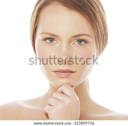 spa picture attractive lady young red hair isolated on white cloose up - stock photo