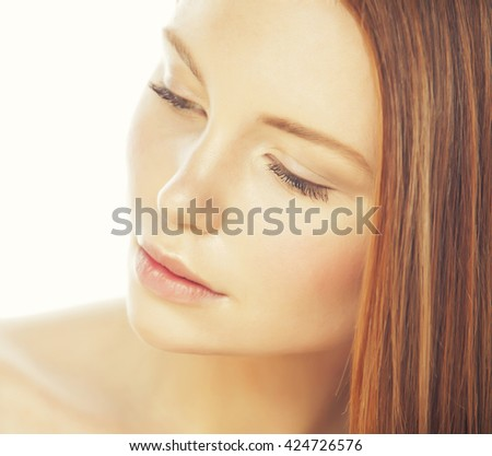 spa picture attractive lady young red hair isolated on white close up - stock photo