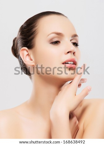Spa portrait of young beautiful woman - stock photo
