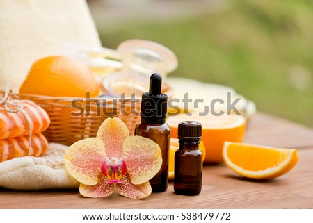 Spa products and aromatherapy. soap and essential oil of orange.