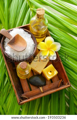 spa relax set on green leaf
