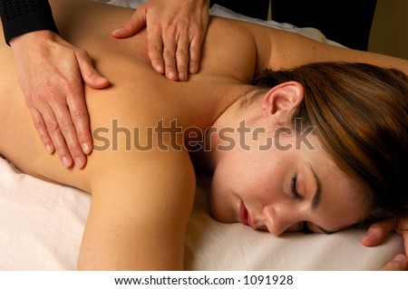 Spa Salon Full Body Massage Hands On - stock photo