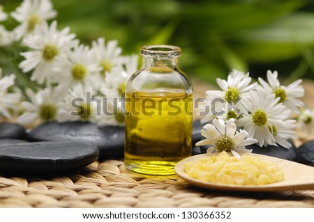 spa salt in spoon with flower and stones with massage oil - green leaf background - stock photo