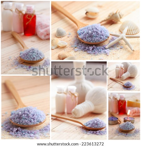 Spa series. Collage of wellness products. sea salt,  - stock photo