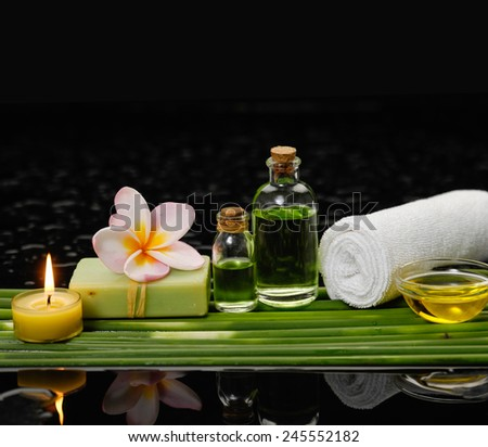 Spa set and long leaf on wet background - stock photo