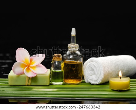 Spa set and long leaf on wet background