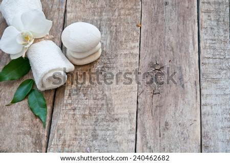 SPA set on a wooden background - stock photo