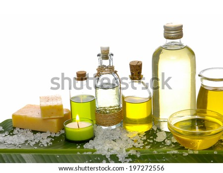 Spa set on banana leaf with pile of salt