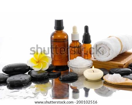 Spa set on wet background - stock photo
