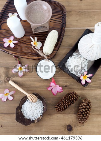 Spa set on wooden floor