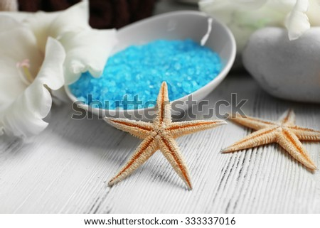 Spa set on wooden table closeup - stock photo