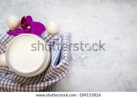 Spa set over white woods - stock photo