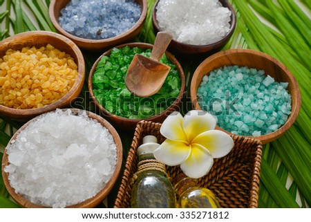 Spa set with perfume ,spoon on palm    - stock photo