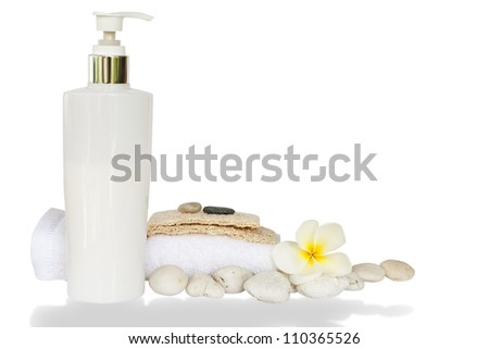 Spa set with white flower,towels and stone isolated with clipping path