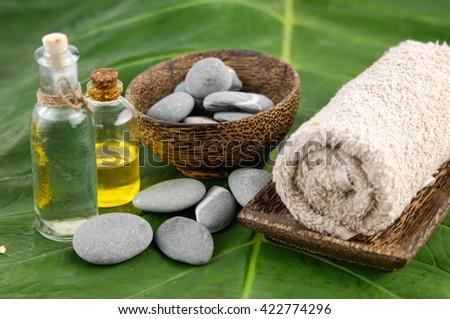 spa setting and leaf  - stock photo