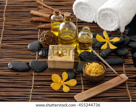 Spa setting on mat texture  - stock photo