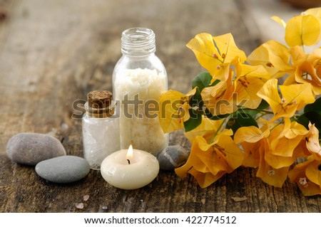 Spa setting on old wood - stock photo