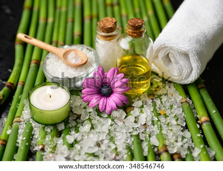 Spa setting on thin green grove with pile salt - stock photo