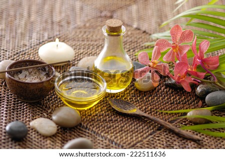 spa setting on wicker mat - stock photo